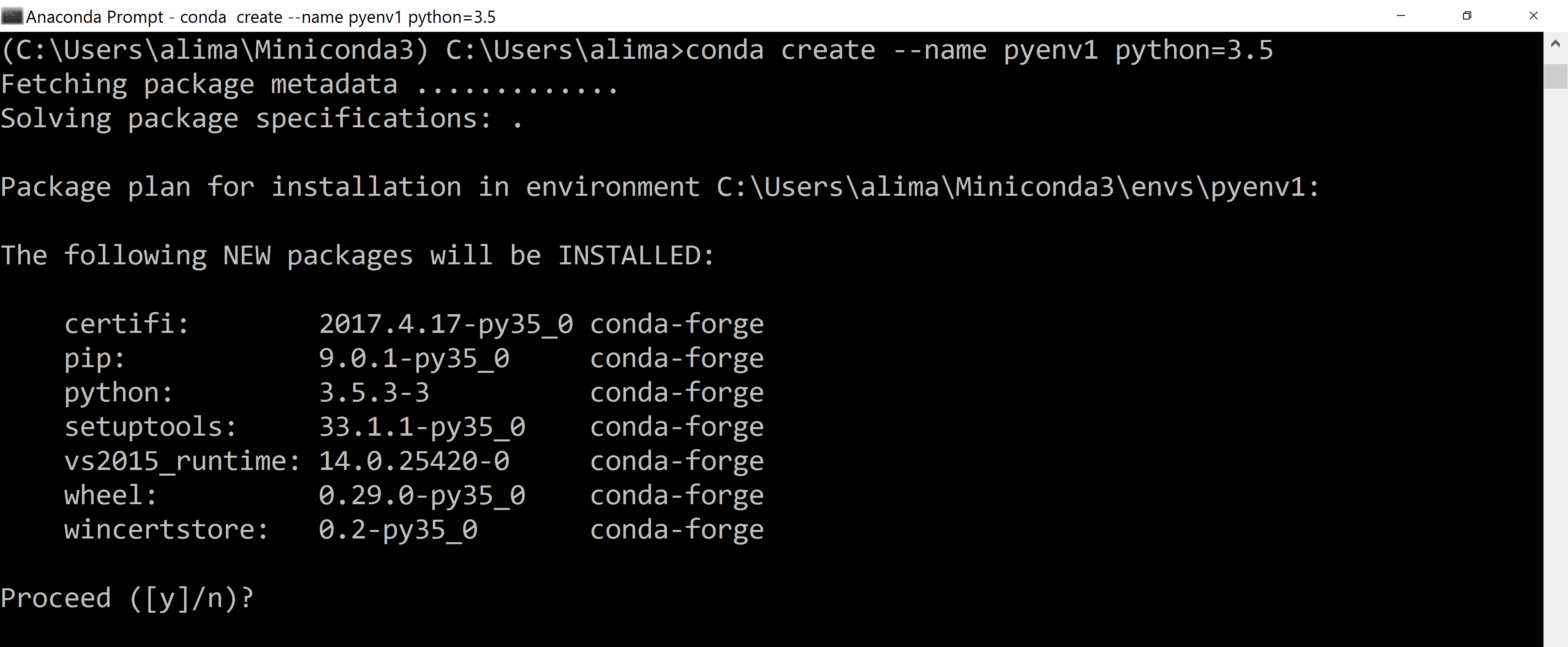 conda create python 3 6